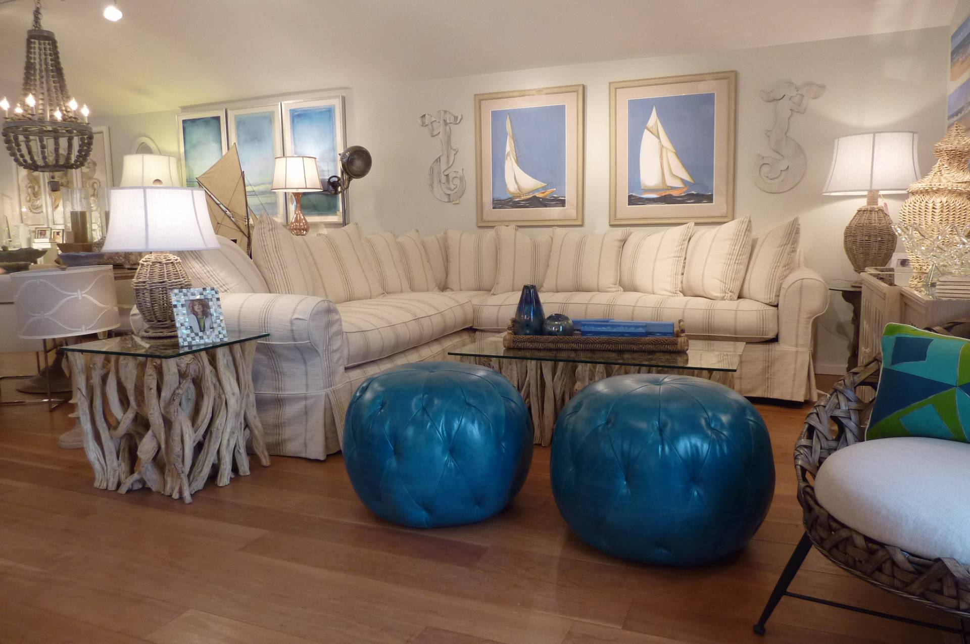 Sectional with Sailboats