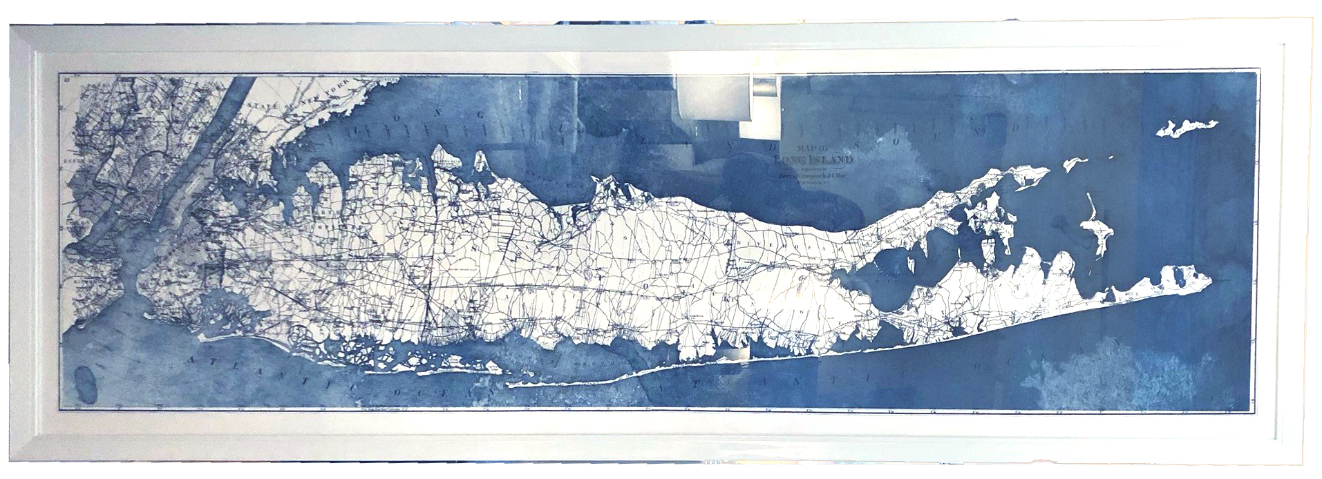 Long Island Map, Blue